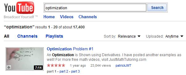 Optimization of You Tube Videos