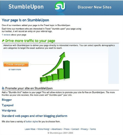 Increase your traffic with stumbledupon